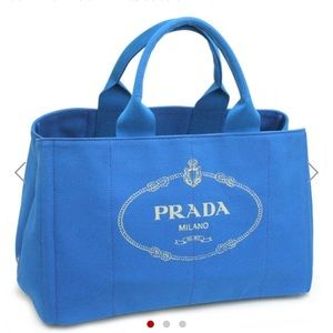 Authentic Prada Blue Canvas Large Tote Bag